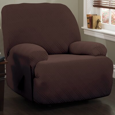 Double Diamond Stretch Sensations Box Cushion Recliner Slipcover Upholstery: Chocolate