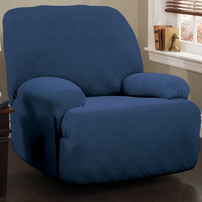 Double Diamond Stretch Sensations Box Cushion Recliner Slipcover Upholstery: Navy