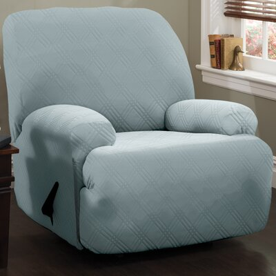 Spandex Double Diamond Stretch Sensations Recliner Slipcover Upholstery: Spa Blue