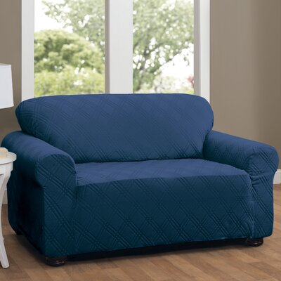 Double Diamond Box Cushion Loveseat Slipcover Upholstery: Navy