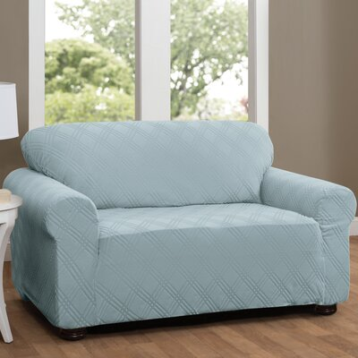 Double Diamond Box Cushion Loveseat Slipcover Upholstery: Spa Blue