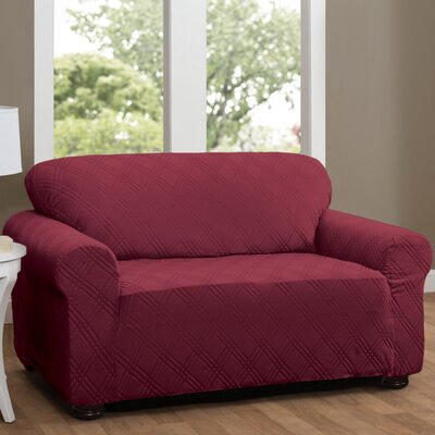 Double Diamond Box Cushion Loveseat Slipcover Upholstery: Brick