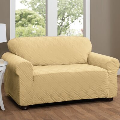 Double Diamond Box Cushion Loveseat Slipcover Upholstery: Butter