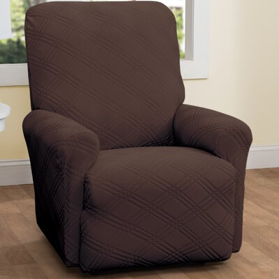 Double Diamond Stretch Sensations Recliner Slipcover Upholstery: Chocolate
