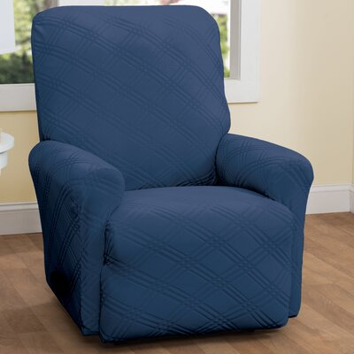 Double Diamond Box Cushion Recliner Slipcover Upholstery: Navy