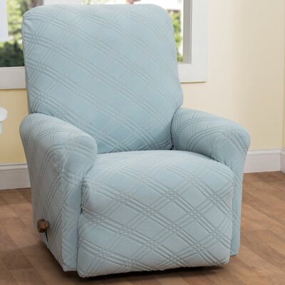 Double Diamond Box Cushion Recliner Slipcover Upholstery: Spa Blue