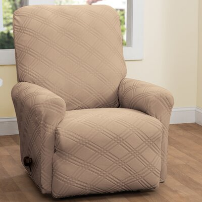 Double Diamond Box Cushion Recliner Slipcover Upholstery: Beige