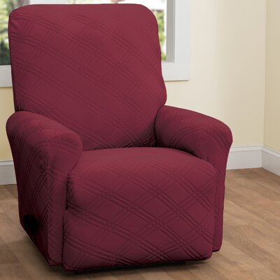 Double Diamond Box Cushion Recliner Slipcover Upholstery: Brick