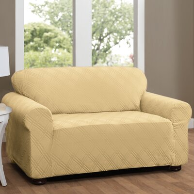 Double Diamond Stretch Sensations Sofa Slipcover Upholstery: Butter