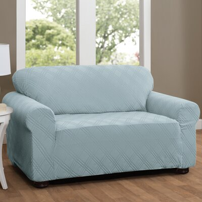 Double Diamond Sensations Box Cushion Sofa Slipcover Upholstery: Spa Blue