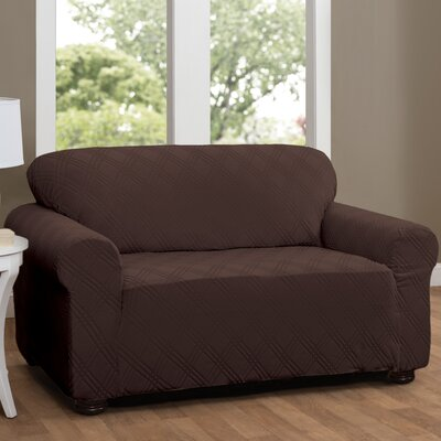 Double Diamond Sensations Box Cushion Sofa Slipcover Upholstery: Chocolate