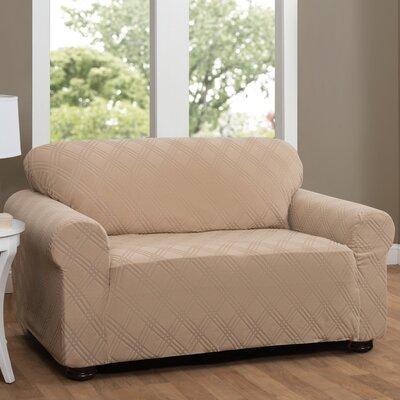 Double Diamond Sensations Box Cushion Sofa Slipcover Upholstery: Beige