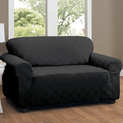 Double Diamond Sensations Box Cushion Sofa Slipcover Upholstery: Black