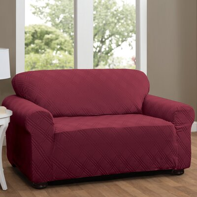 Double Diamond Sensations Box Cushion Sofa Slipcover Upholstery: Brick