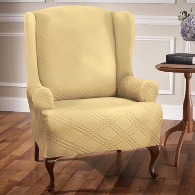 Double Diamond Stretch Sensations Arm Chair Slipcover Upholstery: Butter