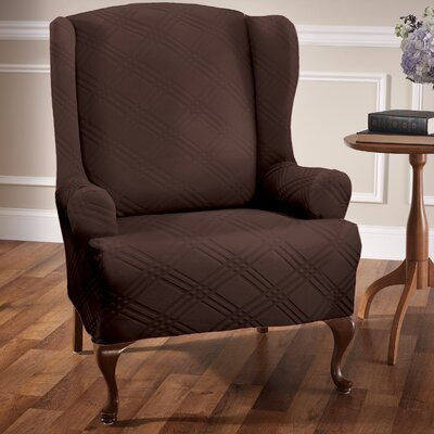 Double Diamond Stretch Sensations Arm Chair Slipcover Upholstery: Chocolate