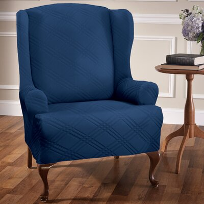 Double Diamond Stretch Sensations Arm Chair Slipcover Upholstery: Navy