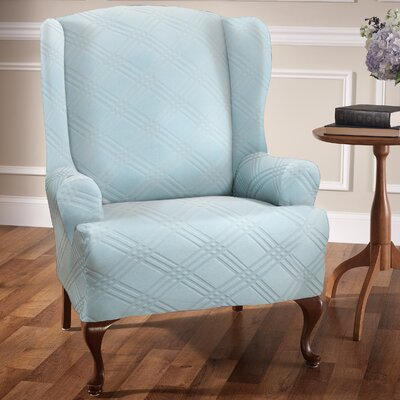 Double Diamond Sensations Box Cushion Wingback Slipcover Upholstery: Spa Blue
