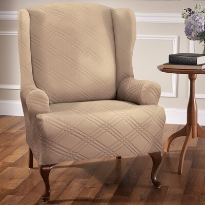 Sensations T-Cushion Wingback Slipcover Upholstery: Beige