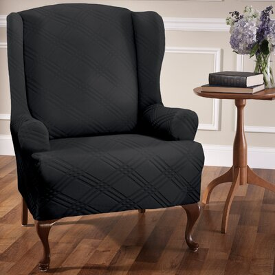 Double Diamond Sensations Box Cushion Wingback Slipcover Upholstery: Black