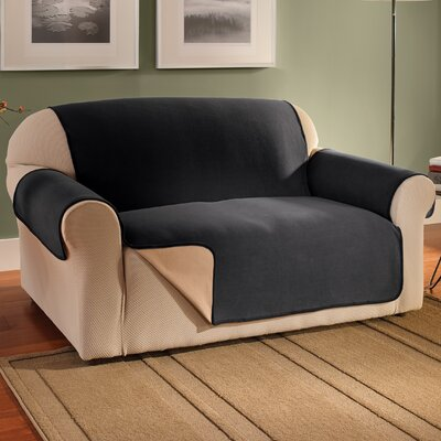 Waterproof Reversible Fleece Furniture Protector Box Cushion Sofa Slipcover Upholstery: Black