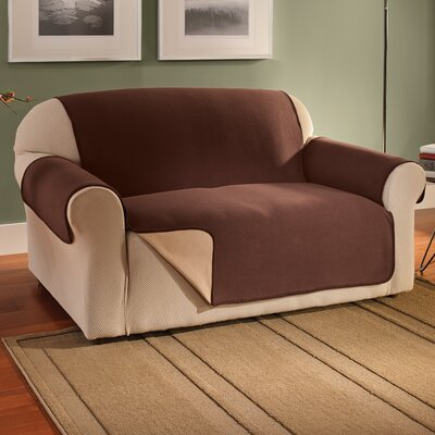 Waterproof Reversible Fleece Furniture Protector Polyester Sofa Slipcover Upholstery: Chocolate