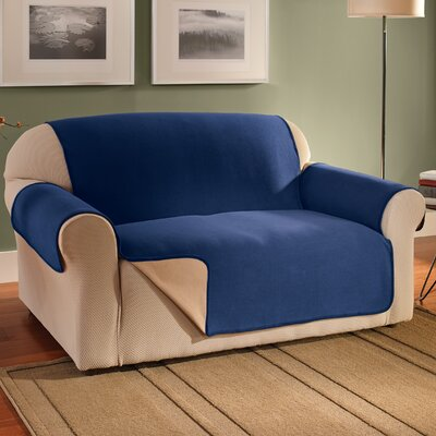 Waterproof Reversible Fleece Furniture Protector Box Cushion Sofa Slipcover Upholstery: Navy