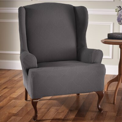 Madden Stretch T-Cushion Wingback Slipcover Upholstery: Gray