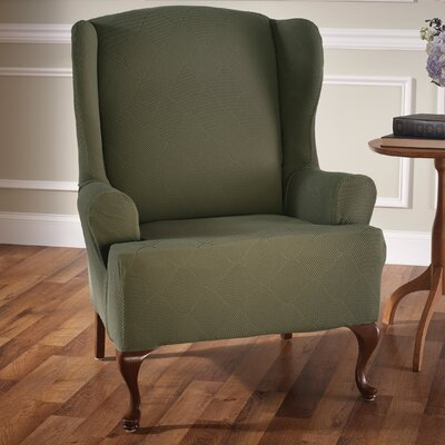 Madden Stretch T-Cushion Wingback Slipcover Upholstery: Sage