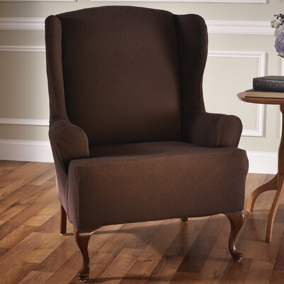 Levine T-Cushion Wingback Slipcover Upholstery: Chocolate