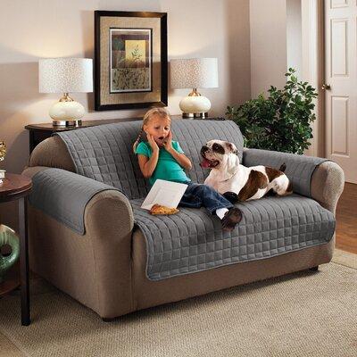 Box Cushion Sofa Slipcover Size: 120 W x 75.5 D, Upholstery: Gray