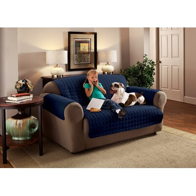 Box Cushion Sofa Slipcover Size: 120 W x 75.5 D, Upholstery: Navy