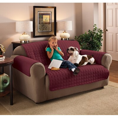 Box Cushion Sofa Slipcover Size: 110 W x 75.5 D, Upholstery: Burgundy