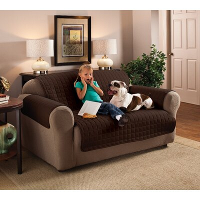 Microfiber 100% Polyester Sofa Slipcover Size: 120 W x 75.5 D, Upholstery: Chocolate