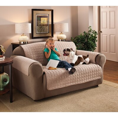 Microfiber 100% Polyester Sofa Slipcover Size: 120 W x 75.5 D, Upholstery: Natural