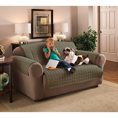Box Cushion Sofa Slipcover Size: 120 W x 75.5 D, Upholstery: Sage