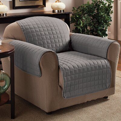 Box Cushion Armchair Slipcover Upholstery: Gray