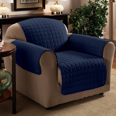 Box Cushion Armchair Slipcover Upholstery: Navy