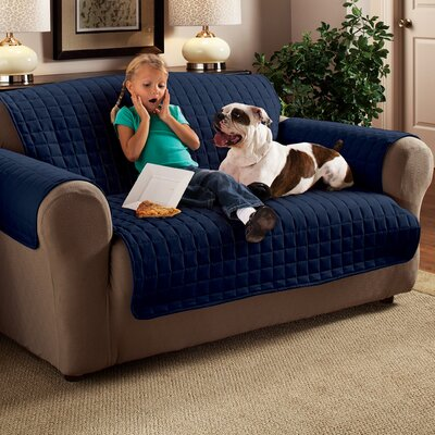 Box Cushion Loveseat Slipcover Upholstery: Navy