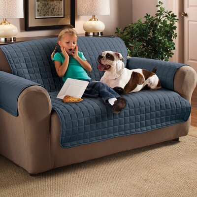 Box Cushion Loveseat Slipcover Upholstery: Slate Blue