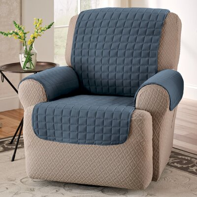 Box Cushion Armchair Slipcover Upholstery: Slate Blue