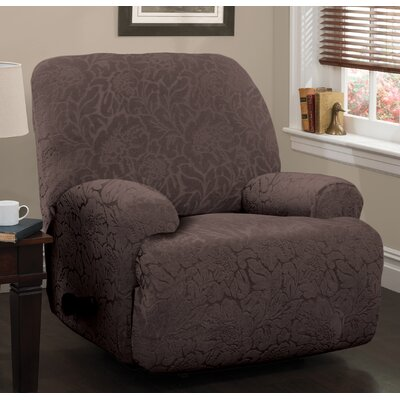 Stretch Floral Jumbo Recliner Slipcover Upholstery: Chocolate