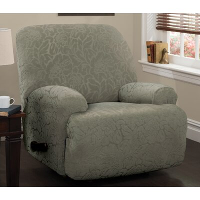 Stretch Floral Jumbo Recliner Slipcover Upholstery: Sage