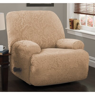 Stretch Floral Jumbo Recliner Slipcover Upholstery:  Sand