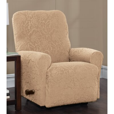 Stretch Floral Recliner Slipcover Upholstery: Sand