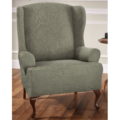T-Cushion Wingback Slipcover Upholstery: Sage