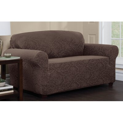 Stretch Floral Sofa Slipcover Upholstery: Chocolate