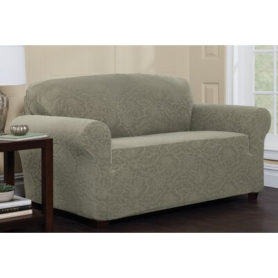 Stretch Floral Box Cushion Sofa Slipcover Upholstery: Sage