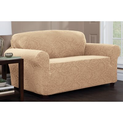 Stretch Floral Sofa Slipcover Upholstery: Sand