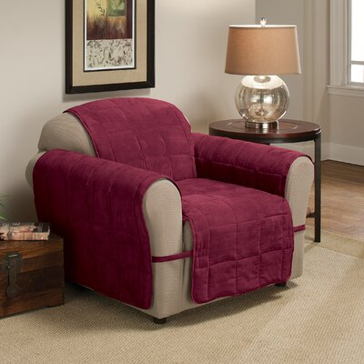 Box Cushion Armchair Slipcover Size: 98.5 H x 164 W, Upholstery: Burgundy